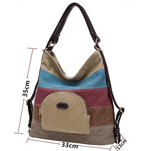 Nameblue Bag Handbag Hobos Women 839 khaki Shoulder Canvas Girl's Tote Striped Color Messenger Multi Bag rr71Zg