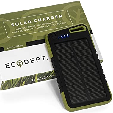 ECOdept Portable Solar Powered Multiple USB Charger - 5000 mAh Battery