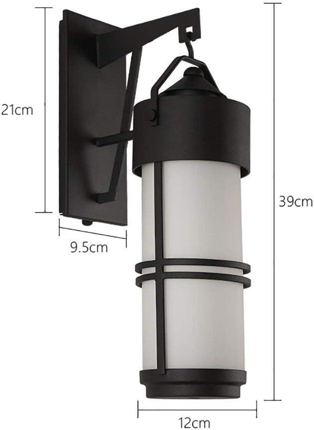 Aplique de Pared Lámpara de Pared Retro a Prueba de Agua Jardín de Cristal Puerta Corredera Creativa Aplique de Pared Lámparas de Pared Decorativas Lámparas de Pared Decorativas, Qi Xian, Negro