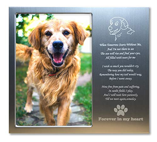 (JOEZITON Pet Memorial Personalized 4x6 Picture Frame for Loss of Dogs.)