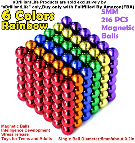 - aBrilliantLife 5MM 216 Pieces Multicolored Magnet Balls Toys Sculpture Building Magnetic Blocks Magnets Cube Gift for Intellectual Development -Office Toy Stress Relief Gifts for Teens and ADU 6 Color