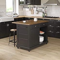 Farmhouse Kitchen Dorel Living Kelsey 2, Black & Rustic Oak Kitchen Island with Stools, Black farmhouse kitchen islands and carts