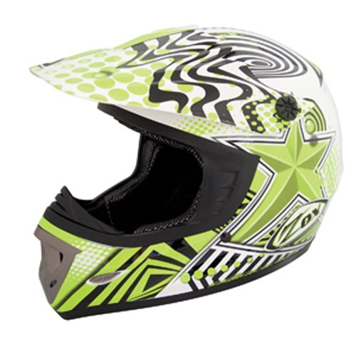 ZOX Rush Junior Off-Road Helmet with Star Graphic (Green/Black, Small)