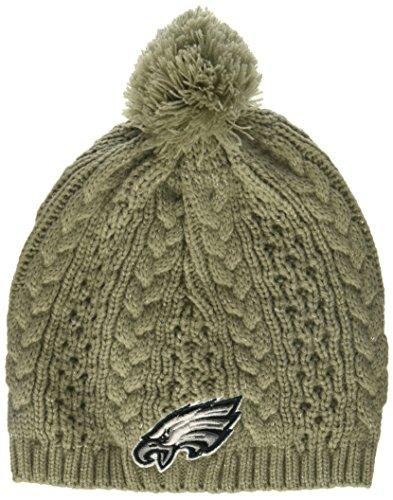 (NFL Philadelphia Eagles Women's Valerie OTS Beanie Knit Cap with Pom, Gray, Women's)