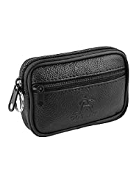 uxcell® Woman Zipper Closure Faux Leather Keyring Coin Purse Bag