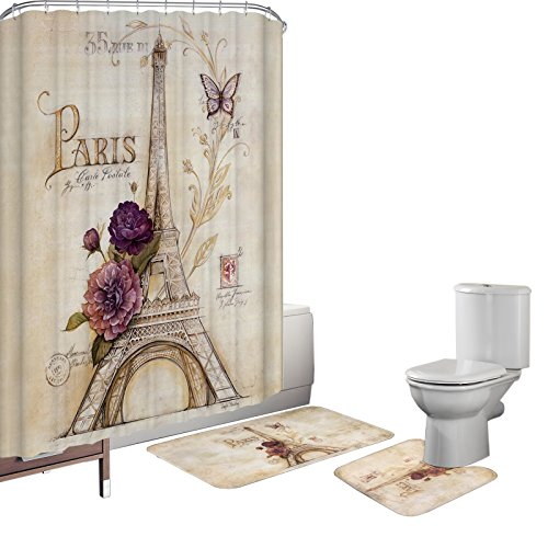 Amagical 15 Piece Vintage Paris Brown Eiffel Tower Bathroom Shower Curtain Set Mat Purple