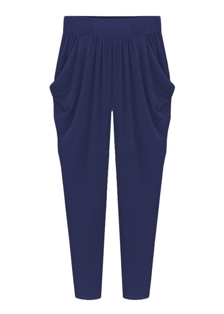 Smibra Womens Plus Size Super Stretch Harem Pants Casual Loose Milk Silk Trousers