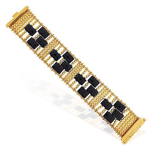 Gioiello Italiano Bracelet en argent plaqué or avec perles vertes Bracelet en argent