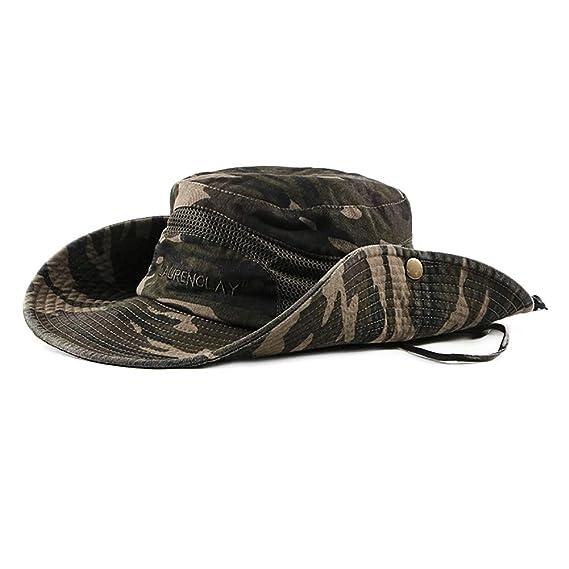 Leisial Sombrero Estampado De Camuflaje del Ejército de ala Ancha Borde  Redondo Anti-UV Algodón be2f6fa167c