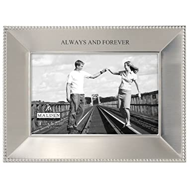 Malden International Designs Simply Stated Shiny Pewter Picture Frame, Always and Forever, 4 by 6-Inch