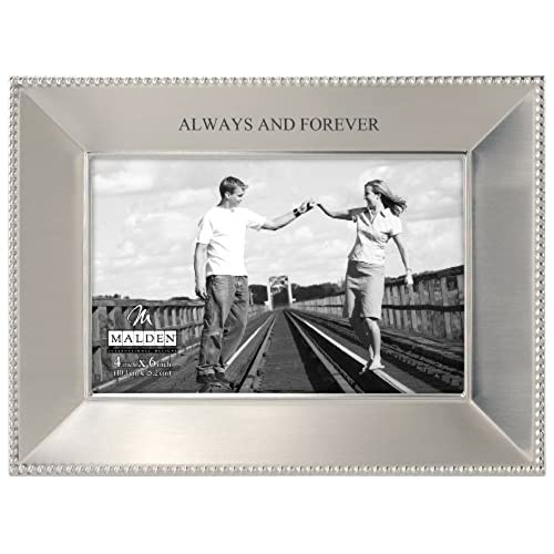 malden international designs simply stated always and forever shiny pewter picture frame 4x6 silver - Engraved Photo Frame