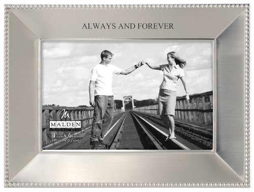 Malden International Designs Simply Stated Always and Forever Shiny Pewter Picture Frame, 4x6, ()