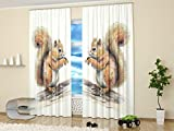 Art Curtains Collection by Factory4me Little squirrel from the fairy tale. Window Treatment Curtain Panel (Set of 2) Bedroom, Kitchen, Living Kids Teen Room84