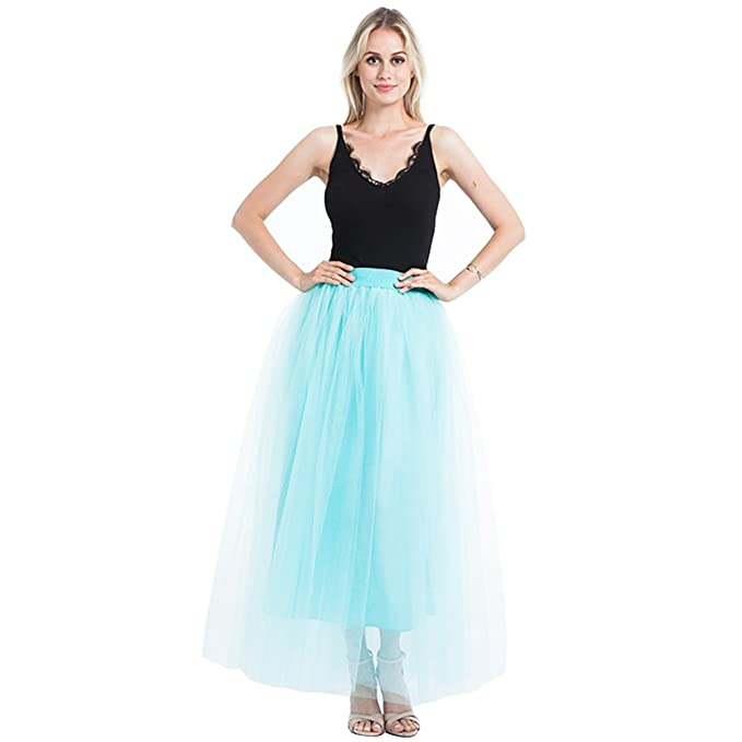 9e74e85f6 Halloween Party Tulle Skirts Women's Layered Maxi Long Skirt Princess  Bridesmaid Skirt Petticoat (Mint)