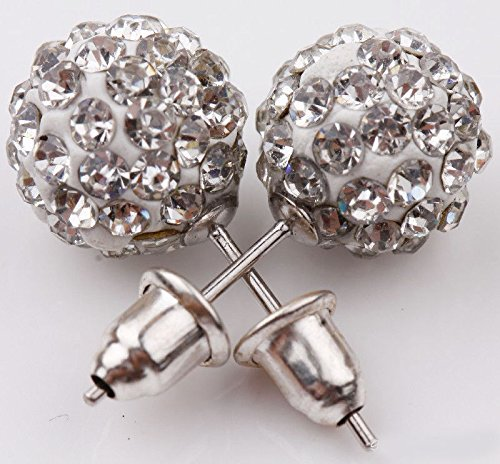suchadaluckyshop Vogue Girl Austrian Czech Crystal Pave Disco Clay Ball Stud Earrings -
