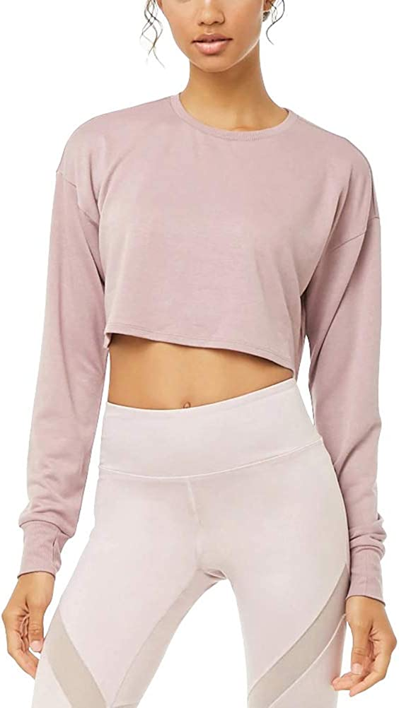 Mippo Long Sleeve Crop Top for Women Workout Tops Cropped Sweatshirts with Thumb Hole