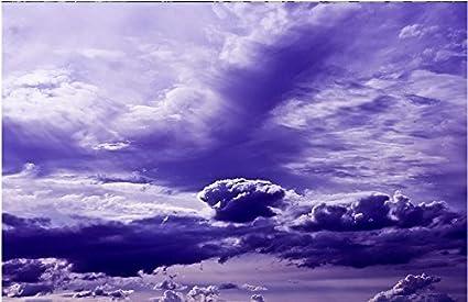Lwcx Custom 3d Piano Autoadesivo Sfondo Cielo Blu E Nuvole Bianche