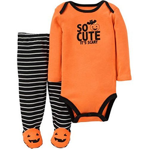 Carter's Baby Boys Halloween Onesie / Bodysuit and footies ~ So Cute It's Scary ~ Pumpkin Footed Pant Set (3 - 6 Months, Orange/Black) ()