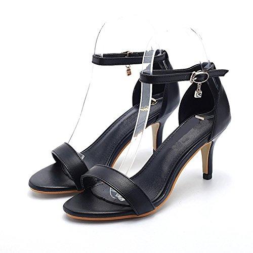 Ruiren Dames pour Hauts Cheville Femmes Ouvert Talons Noir Chaussures Sandales fwrfq847