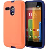 Moto G Case, CellJoy® [Armor Shell] [Coral Orange / Navy Blue] Motorola Moto G 1st Generation XT1032 Only Case Hybrid Ultra Fit [TPU] Dual Protection **Shockproof** Slim Cover Hard Case for Moto G