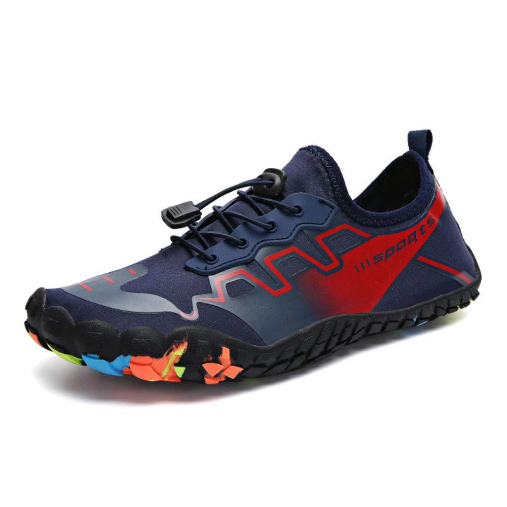 YSZDM Mens Wasser Schuhe, schnell trocknend Sport Aqua Schuhe Schwimmen Schuhe mit Drainagelöcher für Schwimmen Walking Yoga Lake Beach Garden Park Fahren Stiefelfahren,rot,43