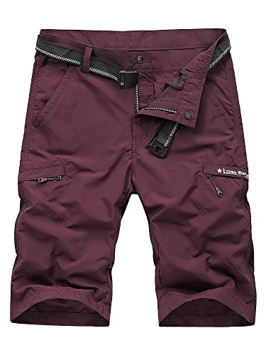 Men's Outdoor Expandable Waist Lightweight Quick Dry Shorts Bordeaux XL - US 32 (Bordeaux Clothing)