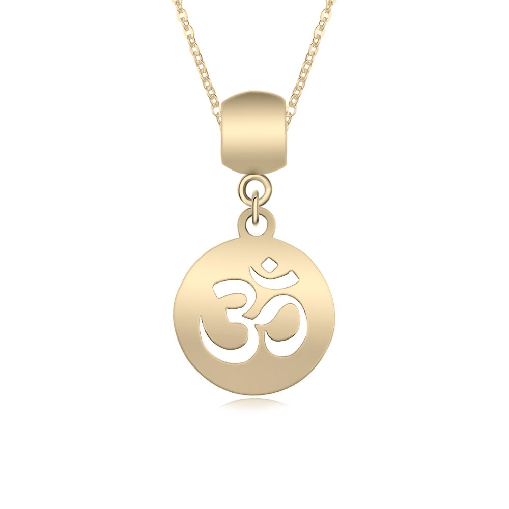 TUSHUO Simple Cute Personalized Aum Om Ohm Sanskrit Symbol Hollow Yoga Charm Pendant Necklace (Gold Plating)