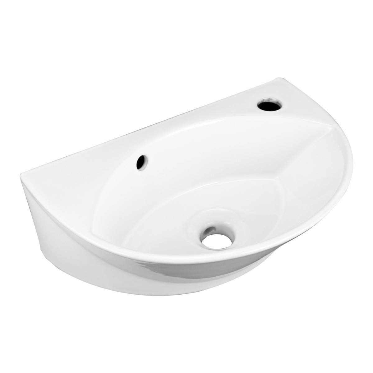White Small Wall Mount Sink with Single Faucet Hole Overflow Bathroom Sink