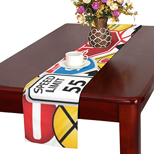 WHIOFE Collage Road Traffic Signs Table Runner, Kitchen Dining Table Runner 16 X 72 Inch for Dinner Parties, Events, - Clipart Traffic Signs