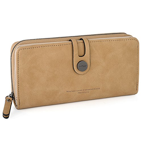 "UTO Mujeres PU Leather Wallet Large Capacity 5.5 ""Phone Case Cremallera bolsillo titular de la tarjeta Organizador monedero azul Camello"