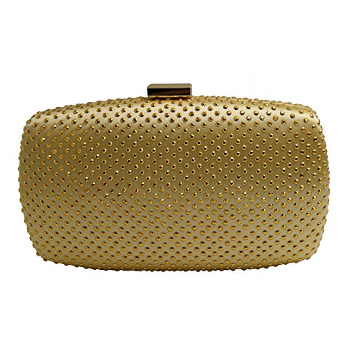 DMIX Womens Hard Case Party Clutch Evening Bags Gold (Dmix Case)