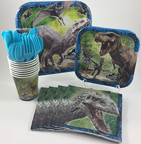 BashBox Jurassic World Dinosaur Birthday Party Supplies Pack Including Cake & Lunch Plates, Cutlery, Cups & Napkins for 8 Guests
