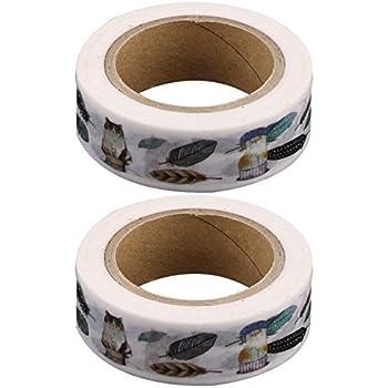 eDealMax de Papel japonés Pluma del patrón del embalaje del Regalo DIY de la decoración de la Cinta del Rollo 1,5 cm Ancho 2pcs