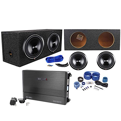 "2 Rockford Fosgate P3D4-10 10"" 2000W Subwoofers+Sealed Box+MB Quart Amp+Amp Kit"