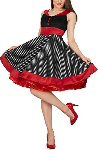BlackButterfly 'Sylvia' Vintage Polka Dot Pin-up Dress (Black, US 18)