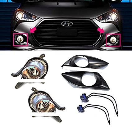 Hyundai Motors OEM Genuine Fog Lamp with Cover 4pc + Conector 2pc 1Set For 13 14