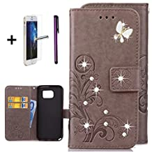 Samsung Note 5 Case, ISADENSER Bling Sparkly Diamonds PU Leather Flower Lucky Clover Embossed Case With Kickstand Card Slot For Samsung Galaxy Note 5, Crystal Butterfly Clover Grey