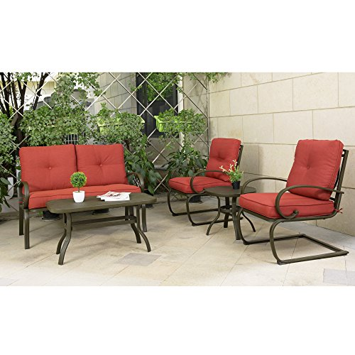 Cloud Mountain 5 Piece Cushioned Outdoor Furniture Garden Patio Conversation Set, Wrought Iron Coffee Table Loveseat Sofa 2 Chairs (Patio Conversation Set 2, Brick (5 Piece Garden Patio Furniture)