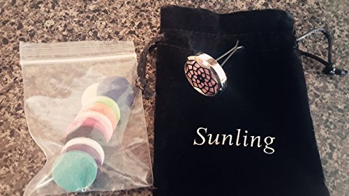 Sunling 316L Stainless Steel Aromatherapy Home Car Essential Oil Diffuser Locket Clip 10 Washable Felt Pads