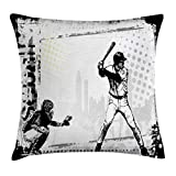 Cheap Lunarable Sports Throw Pillow Cushion Cover, Baseball Themed American Sport Team Rustic Design Silhouette Illustration Print, Decorative Square Accent Pillow Case, 24 X 24 Inches, Black White
