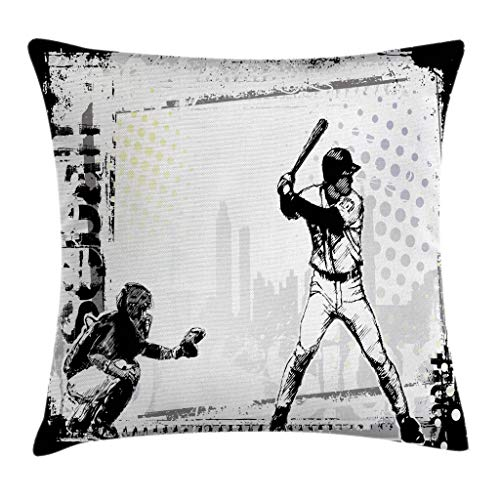 Lunarable Sports Throw Pillow Cushion Cover, Baseball Themed American Sport Team Rustic Design Silhouette Illustration Print, Decorative Square Accent Pillow Case, 24 X 24 Inches, Black White