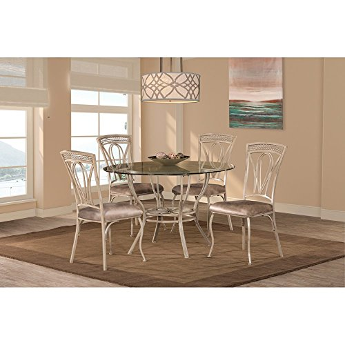 Hillsdale 5986DTBS5 Dining Table (Glass Upholstered Dining Table Set)