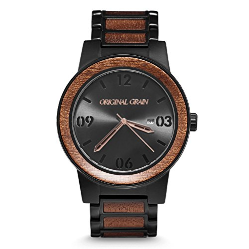 Original Grain Wood Wrist Watch | Barrel Collection 47MM Analog Watch | Wood and Matte Black Stainless Steel Watch Band | Japanese Quartz Movement | Sapele Wood