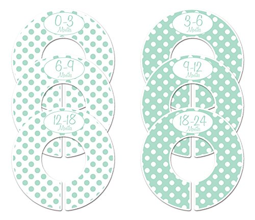 (Closet Doodles C147 Mint Polka Dots Baby Clothing Dividers Set of 6 Fits 1.25inch Rod)