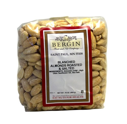 Bergin Nut Company Almonds Whole Blanched, Roasted Salted, 16 Ounce Bag (Whole Almonds Roasted)