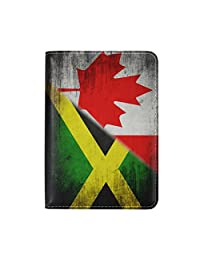 ALAZA World Map Flag Genuine Leather Passport Covers Holder Case Protector