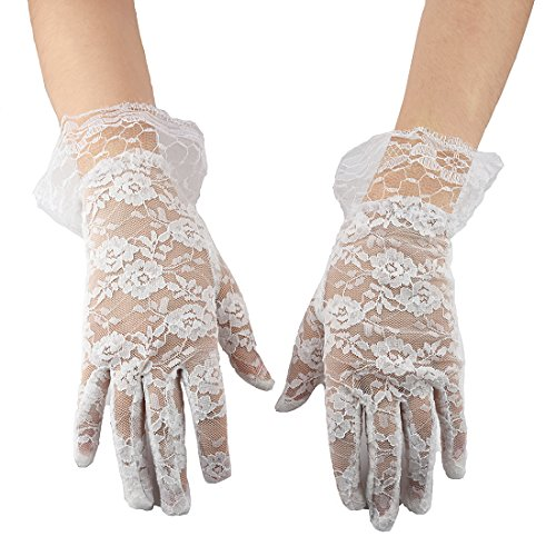Greenmoe Women's Elegant Short Lace Formal Wrist Length Gloves (Lace Wrist Length Gloves)