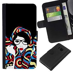 WINCASE ( NO PARA HTC ONE MINI M4) Cuadro Funda Voltear Cuero Ranura Tarjetas TPU Carcasas Protectora Cover Case Para HTC One M7 - Mujer artística feminista gafas inteligentes
