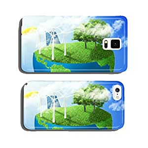 green world earth covered grass wind energy turbines installed cell phone cover case Samsung S6
