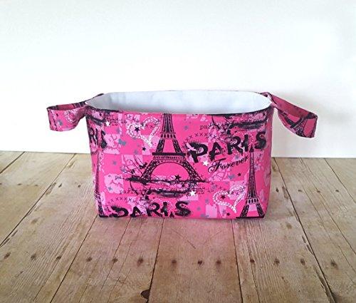 Fabric Storage Basket with Handles - Hot Pink Paris